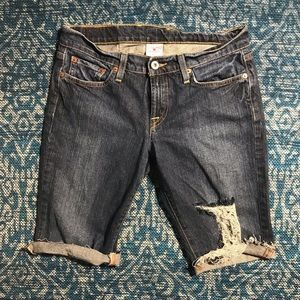 Lucky Brand Bermuda Cut Off Jean Shorts Distressed